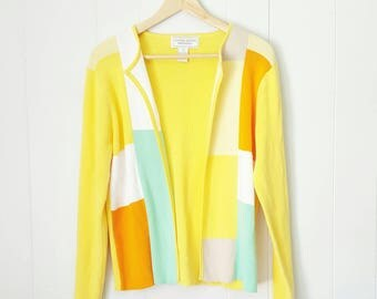 90s Yellow Colorblock Sweater Cardigan by United States Sweaters | Labeled Size Medium