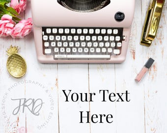 Pink Typewriter Styled Stock Photo Flatlay for Instagram (Square Shape)