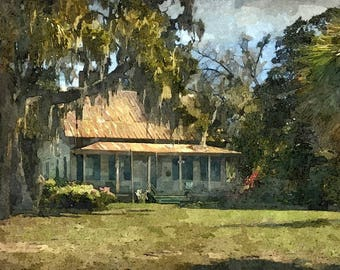 Fine Art Print of Tenant House in High Sun, McIntosh County, Georgia in Watercolor Rendering