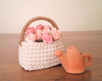 Miniature Crochet Basket with a Handle, Shabby Chic Basket, Doll Basket, Doll House Basket, Flower Basket, Cotton Basket,Gift for Women