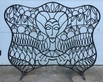 Unique Vintage Metal Fire Screen of Woman Egyptian?