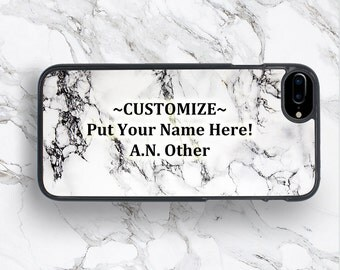 CUSTOMIZE TEXT Marble Case White Design Print iPhone 7+ Cover, Marble Stone Texture Present. iPod Touch Galaxy S8 S7 Edge Case, Pixel Xperia