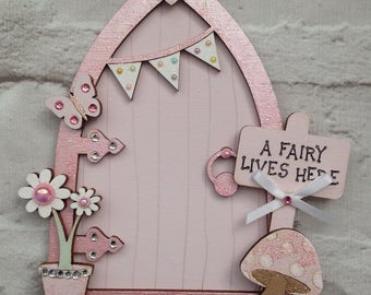 Magical Light Pink Fairy Door, handpainted with embellishments