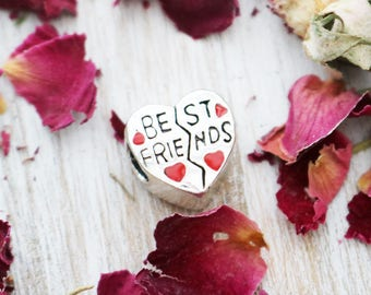 set of 2, best friends beads, heart beads, red enamel beads, antique silver, large hole beads, cute beads, friends beads, 11mm x 11mm