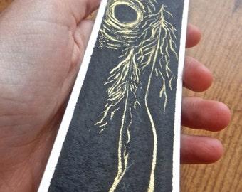 Original artwork bookmark - Gold night - Book accessory - Handmade - FREE SHIPPING within canada