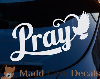Pray Dove Heart Christian Decal Car Laptop Graphic Sticker Window