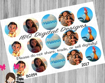Moana bottle cap images || 1 inch bottle cap images || Print at home