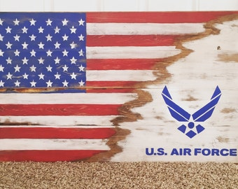 Wood sign USA/Air Force Flag