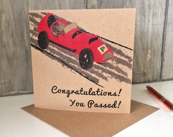 Driving Test Card, Congratulations You Passed card for new driver, ideal for son, brother, friend, niece. Recycled square kraft card UK