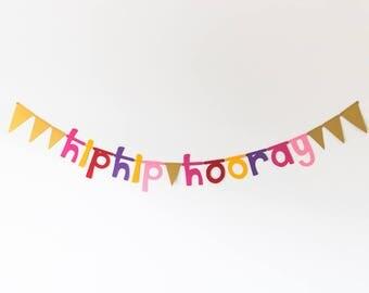 Hip Hip Hooray Garland//birthday Garland//birthday present//garland//banner//decoration//Garland//birthday//gift