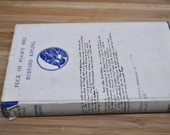 Vintage Kipling Book. Puck of Pook's Hill by Rudyard Kipling. Vintage Book 1933. Hardcover with dust cover.