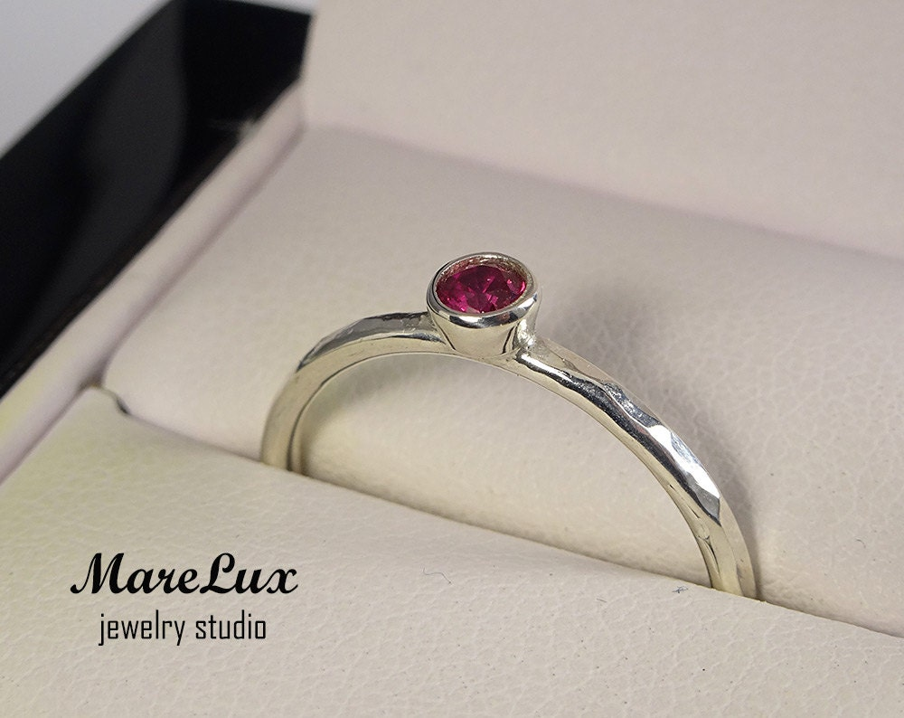 Hammered 3 mm Ruby Silver Ring, Pink Corund Stackable Ring, Pink ...