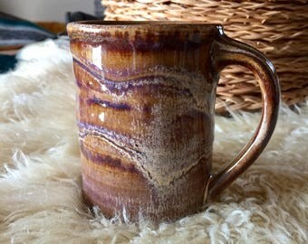 Gorgeous Ceramic Coffee Mug, brown tan purple mug, mug pottery, glazed ceramic mugs