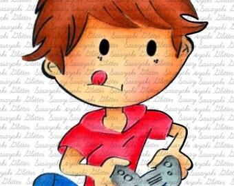 Gamer Shy Digital Stamp by Sasayaki Glitter Digital Stamps - Naz - line art only