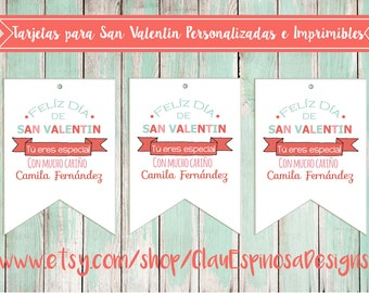 Tarjetas Personalizadas e imprimibles/Valentine Tags SPANISH***INSTANT DOWNLOAD***Printable and Personalized in Adobe Reader