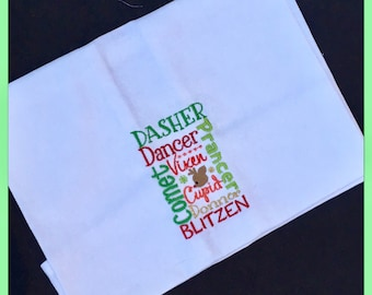 Embroidered Tea towels 100% Cotton Reindeer Christmas Tree Santa Handmade Embroidered * Dish cloth Kitchen Gift Birthday Fun Personalised