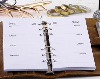 Calendar deposits 2018 Personal 1W2S-Planner Inserts personal 1W2P 2018 Filofax 0200-pe-ka