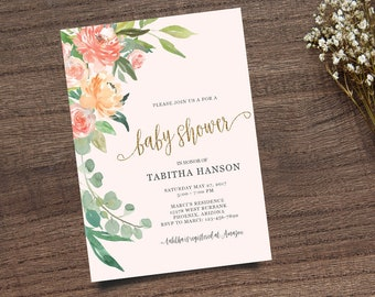 Gold Calligraphy Invite, Boho Chic Invite,  Leafy Invitation, Handpainted Invite, Baby Shower Invite, Calligraphy Invite, Printable Invite