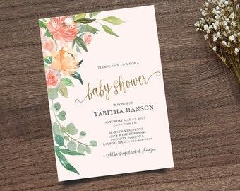 Gold Calligraphy Invite, Boho Chic Invite,  Leafy Invitation, Handpainted Invite, Baby Shower Invite, Calligraphy Invite, Printable Invite