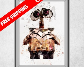 WALL-E Print, Wall-e Poster, Wall-e Art, Nursery Wall Art, Kids Room Decor, Wall-e Painting