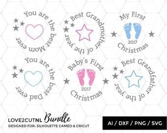Svg Bundle - Baby Christmas ornament SVG cut files for personal & commercial use - Extra letters, numbers and shapes ( .ai .svg .dxf .png  )