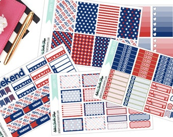 A La Carte Happy 4th Fourth of July Weekly Kit for Happy Planner Planner Stickers
