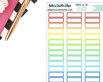Rainbow or Black Skinny 1 inch Box Memo Stickers Planner