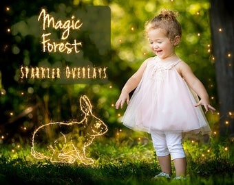 Magic Forest, Sparklers Photoshop Overlays, Glitter Effect,Blowing Glitter Overlays, Fairy dust effect, Fantasy, Magic, Clip Art, Baby Photo