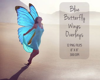 Blue Butterfly Wings Overlays, fairy wings, 12 PNG, photoshop overlay, Fantasy, Magic, clip art, fairy overlay, magical fairy, wings overlay