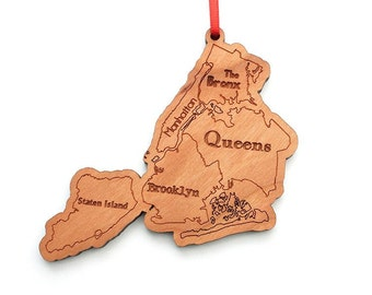 NYC New York City Boroughs Christmas Ornament - Brooklyn Queens Bronx Manhattan Staten Island Christmas Ornament Keepsake New Yorker Gift