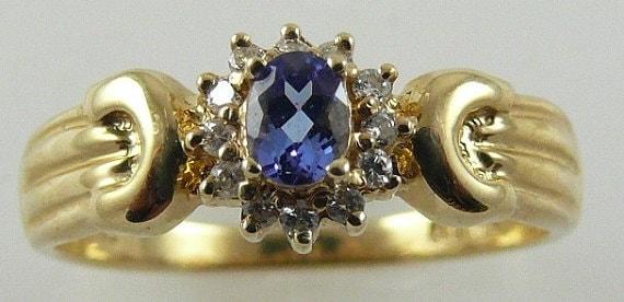 Tanzanite Ring 0.15ct 14k Yellow Gold with Diamonds
