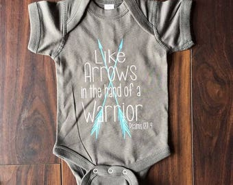 Arrows in the hands of a warrior, baby gift, shower gift, raising arrows