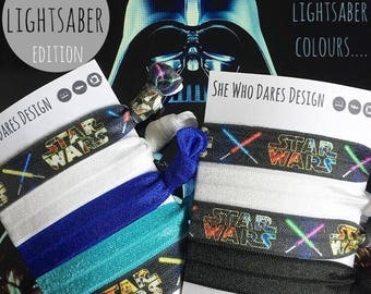 Star Wars Lightsaber set of hair ties bracelets bobbles thingys stocking filler accessory jedi gamer nerd gift ties geek