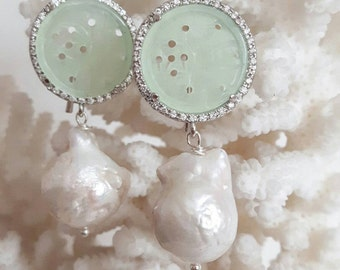 White Baroque pearls and jade earrings with cubic zirconia