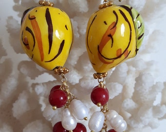 Silver earrings with lemon white Baroque pearls ceramic Caltagirone, red agate, Sicilian earrings