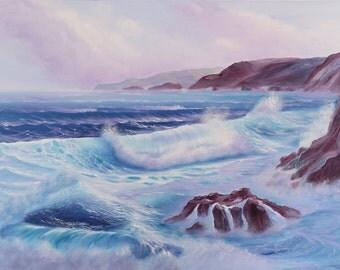 Large Seascape Painting, Coastal Landscape Painting, Ocean Waves, Coastal Art, Fine Art, Original Large Oil Painting on Canvas
