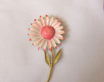 Enamel Flower Brooch Pin 1960s