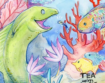 Rainbow Reef Print, Underwater Coral Wall Art, Moray Eel, Parrot Fish Watercolour Giclee Home Decor Children's Artwork Print, Illustration