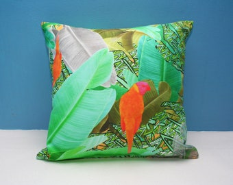 "Jungle Print Cushion/ 12""x12"" size Green & Orange 'Emerald Leaf' print. / Linen Cotton Canvas /Decorative Pillow/ Cushion Cover"