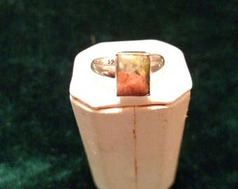Vintage Unakite Sterling Silver Ring Size 5 1/4 3.0g AFSP