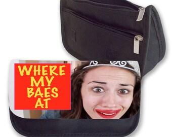 Miranda sings WHERE my BAES at  Pencil case / clutch bag