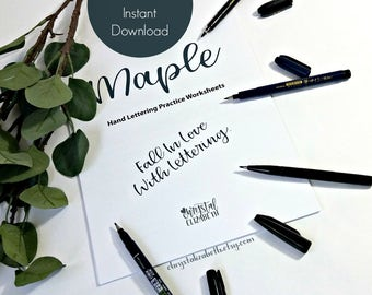 Maple Style Hand Lettering Worksheets – Basic Lower and Upper Case Letters - Numbers - Sentences & Phrases - Printable - Digital Download