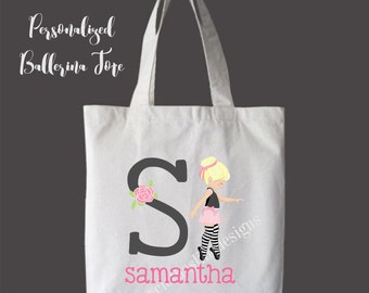 Blonde Hair Personalized Girls Tote Bag Overnight Bag Dance Bag
