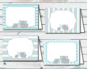 Printable Elephant Food Labels, Place Cards, Food Tent Cards, Blue And Gray Elephant Food Labels, Printable Baby Shower Place Cards