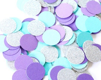 Turquoise, purple and silver confetti, blue, purple and silver confetti circles, winter wonderland party, wedding confetti, flower girl toss