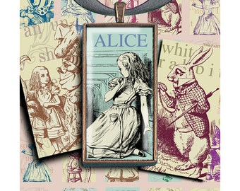 Alice Dominoes  - digital download - pendant trays - magnets - Raspberry Hall