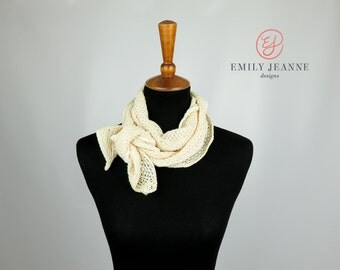 """Delicate Cream Diamond-Patterned Sweater Knit Narrow Fashion Scarf - 9"""" wide"""