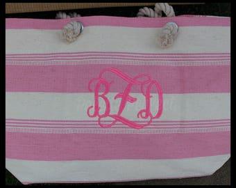 XLarge Beach Bag, Embroidered Beach Bag, Woven Cotton Beach Bag, Monogrammed Beach Bag, Customized Beach BagTote, XLarge Striped Beach Bag