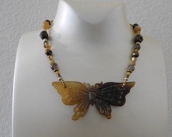 Flutter on by Butterfly necklace choker neutral tones