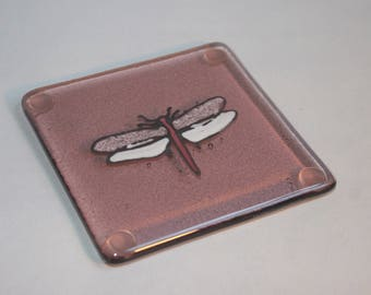 Fused Glass Hand Painted Dragonfly Coaster